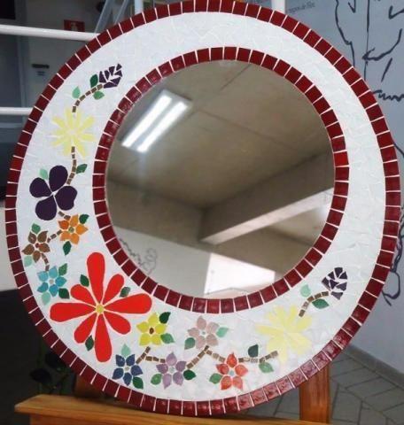 Moldura espelho Mosaico flores