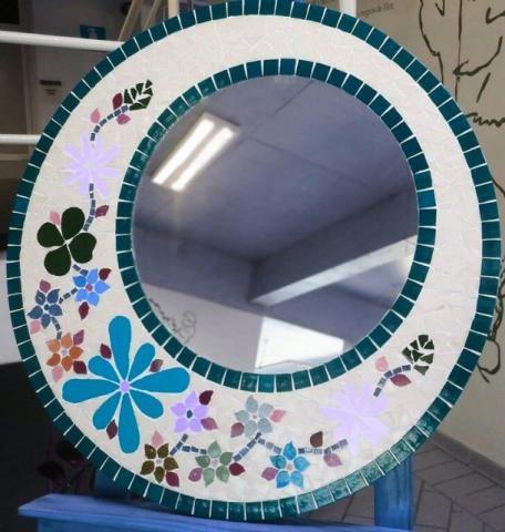 Moldura espelho Mosaico flores - Foto 2