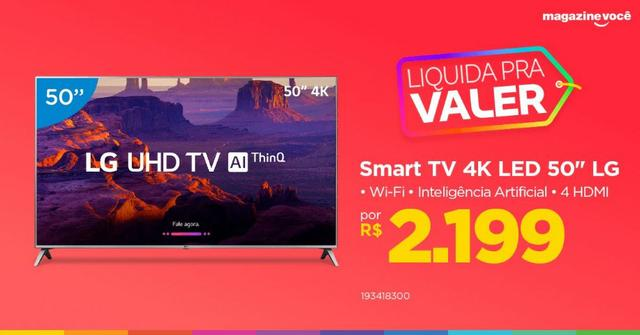 9b816953064a2 Smart TV 4K LED 50  LG 50UK6520 Wi-Fi HDR - Inteligência Artificial  Conversor