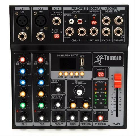 Mesa de Som com interface de audio / 05 Canais / MP3 com Bluetooth
