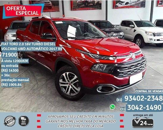 Fiat Toro vermelho 2.0 16V Turbo Diesel 2017 R$71999