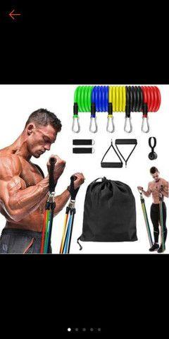 Kit Elástico Para Treino Exercícios Malhar Musculação Casa - Foto 3