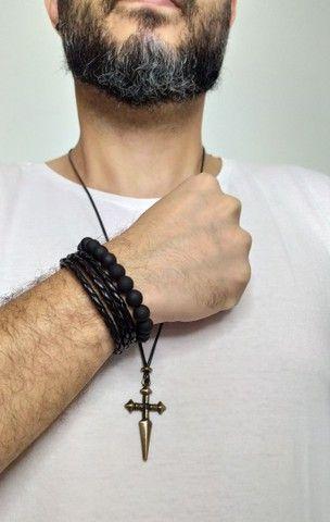 Kit masculino colar e pulseira pretos - Foto 2