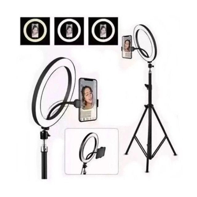 Ring Light 26cm com tripé 2m e suporte para celular Profissional - Foto 2
