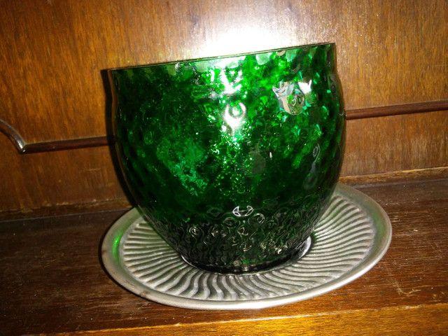 Bomboniere de vidro e prato com banho de prata da década de 70 - Foto 3