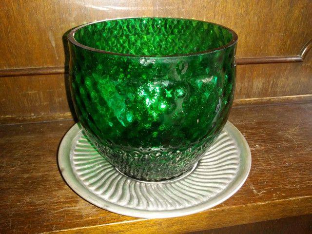 Bomboniere de vidro e prato com banho de prata da década de 70