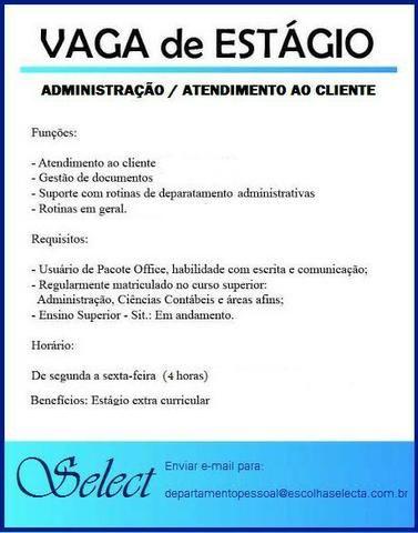 Estagiario administrativo / atendimento ao cliente
