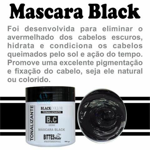 Máscara Black 500 g Tonalizante Color Preto Cabelos Escuros e Brilhosos Bittes Hair - Foto 4