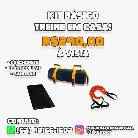 Kit Treino Funcional - Treino em casa - Colchonete + Elástico + Sandbag (Powerbag)