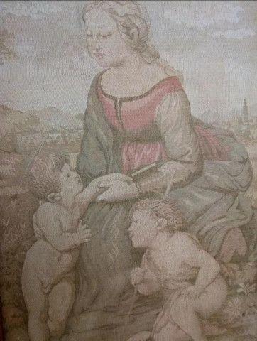 Quadro Antigo Em Tapeçaria Sacro - Foto 3