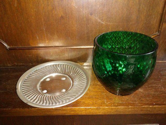 Bomboniere de vidro e prato com banho de prata da década de 70 - Foto 5