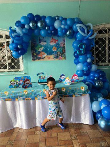 Kit painel de festa infantil Baby shark  - Foto 4