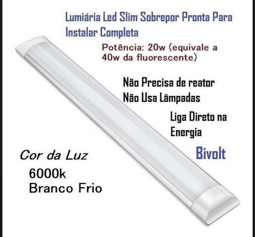 Luminária slim led Branco Frio 20w