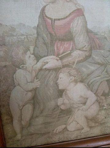 Quadro Antigo Em Tapeçaria Sacro