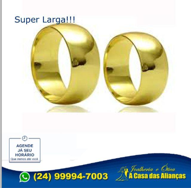 Par de alianças com ouro 18k e prata 10 Gramas - 8 mm - Foto 5