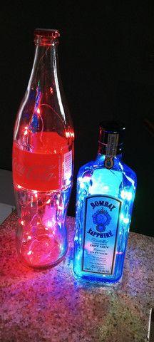 Luminárias garrafas decorativas diversas marcas de Garrafas nacionais e importadas - Foto 3