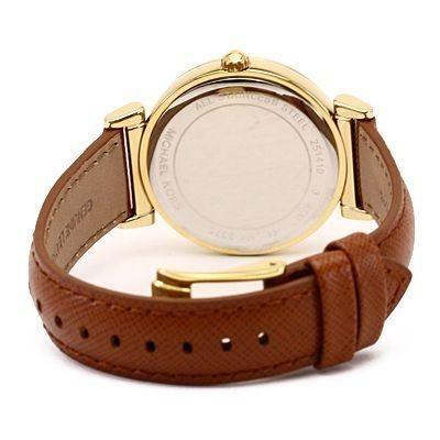 b6a279746 Relógio Michael Kors MK2375 Strass Couro Dourado Caixa Manual ...
