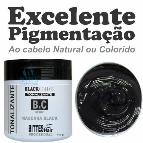 Máscara Black 500 g Tonalizante Color Preto Cabelos Escuros e Brilhosos Bittes Hair - Foto 2