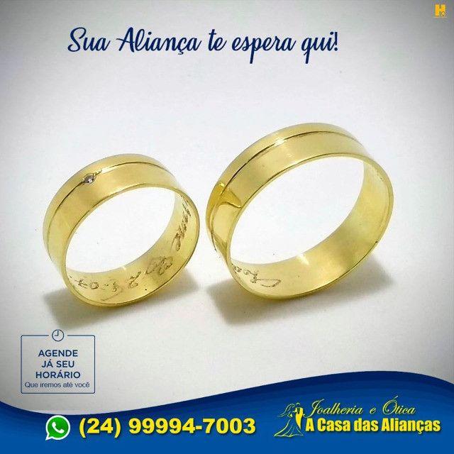 Par de alianças com ouro 18k e prata 10 Gramas - 8 mm - Foto 4