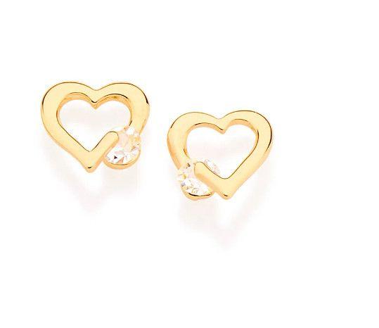 Brinco Rommanel folheado a ouro corações com cristais - 524177