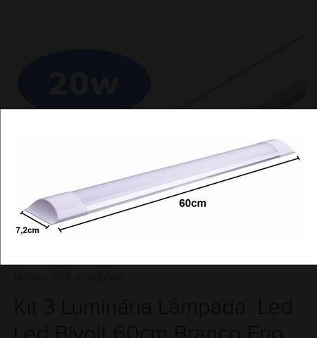 Luminária slim led Branco Frio 20w - Foto 2