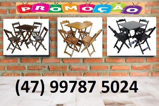 Conjuntos Dobráveis - Mesas 70 x 70 - com 2 ou 4 cadeiras