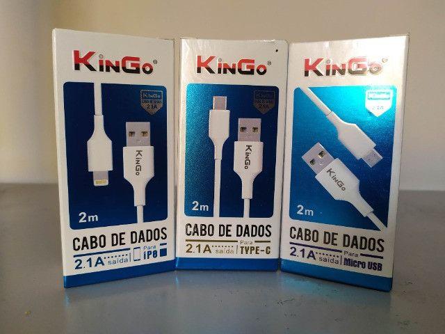 Kingo 2 metros cabo carregador Tipo C - Iphone - Micro USB v8 - Foto 2