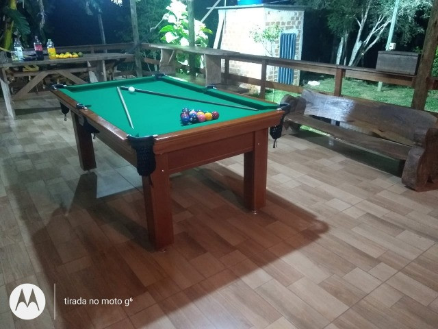 Mesa Tentação 1,93 x 1,18 Cor Imbuia Tecido Verde Mod. RGEP8837 - Foto 3