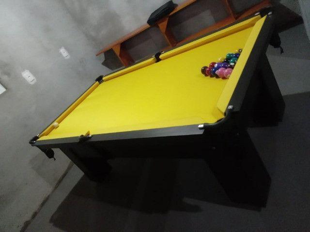 Mesa Charme Carlin Bilhares Cor Preta Tecido Amarelo Mod. HKGY8028 - Foto 2