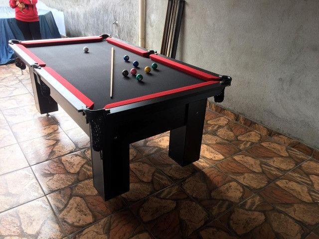 Mesa Charme Carlin Cor Preta Tecido Preto e Borda Vermelha Mod. IZCH2994 - Foto 3