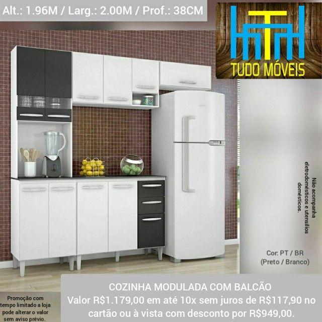 COZINHA MODULADA COM BALCÃO (MONTAGEM GRÁTIS) - Foto 2