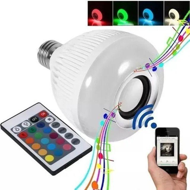 R$79,90 - Lampada Led 12w Rgb Caixa Som Bluetooth Controle 2 Em 1 Mp3