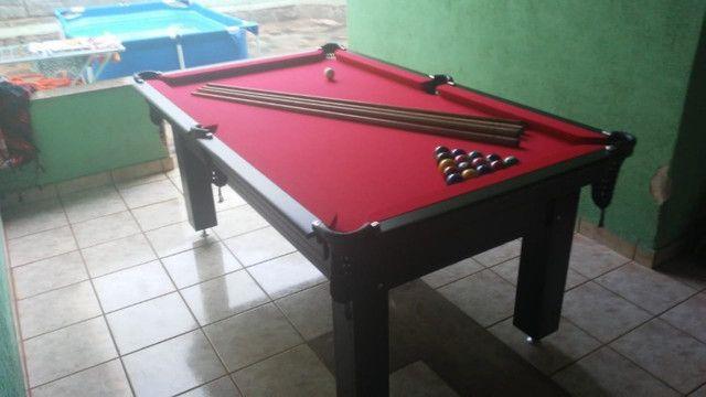 Mesa Tentação Bilhar Cor Marrom Escuro Tecido Vermelho Mod. RGGO6152 - Foto 3