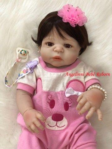 Bebê Reborn Paloma Silicone Pronto Envio! Com Enxoval - Foto 4