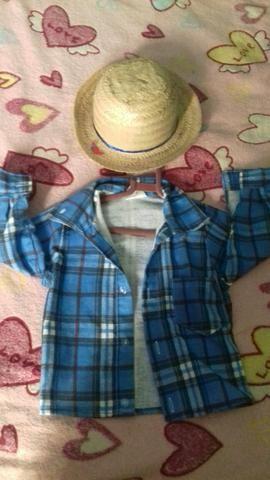 Saquinho de lembrancinhas junina camisa e chapéu de festa junina homem