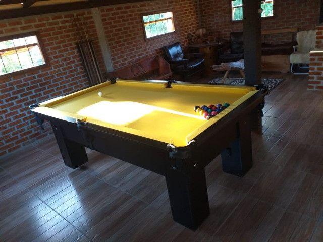 Mesa Charme de Bilhar Cor Preta Tecido Amarelo Mod. SGCN3709 - Foto 3