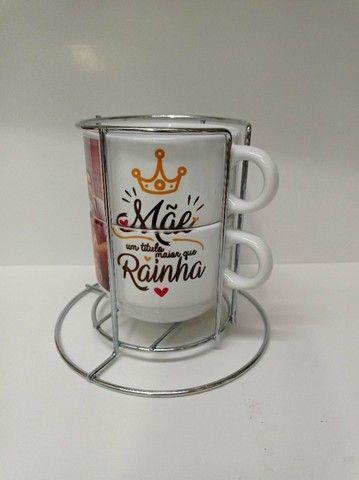 Kit 2 xicaras de café e porta xicara 180ml personalizado, msg, tema namorado - Foto 5