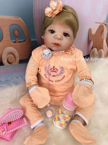 Bebê Reborn Viviane Silicone Pronto Envio! Com Enxoval - Foto 5