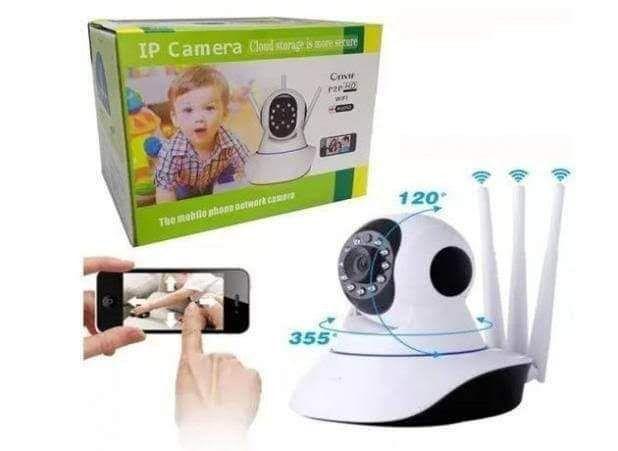 Câmera ip 3 antenas robô babá eletrônica super fácil instalação no celular - Foto 2