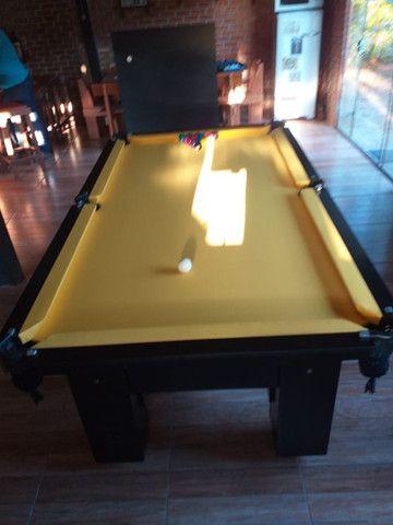 Mesa Charme de Bilhar Cor Preta Tecido Amarelo Mod. SGCN3709 - Foto 2
