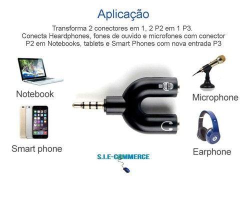 Adaptador Splitter Headset Fone Microfone P2 X P3 Áudio - Foto 3