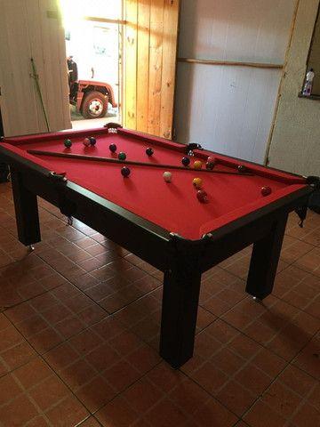 Mesa Tentação de 4 Pés Cor Marrom Escuro Tecido Vermelho Mod. NWND0248 - Foto 2