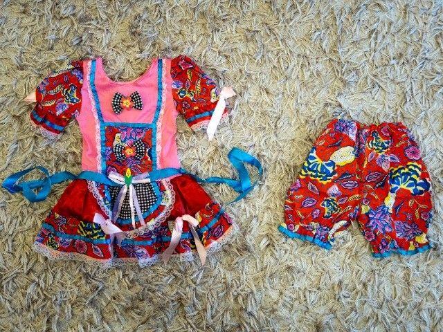 Vestido de festa junina tamanho 3 (para crianças de 2-3 anos)