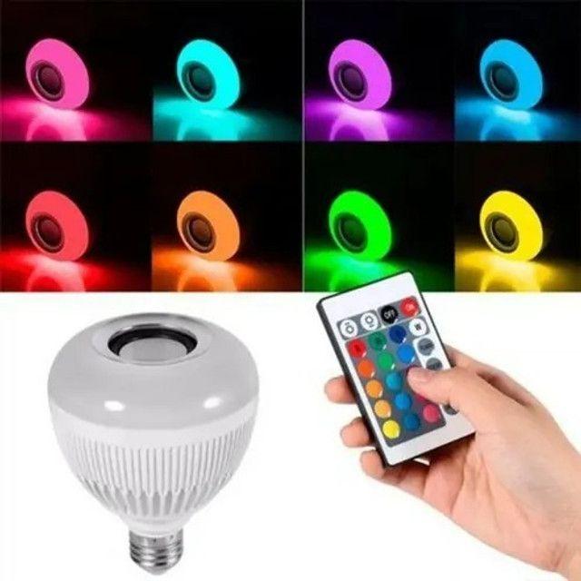 R$79,90 - Lampada Led 12w Rgb Caixa Som Bluetooth Controle 2 Em 1 Mp3 - Foto 2