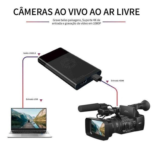Placa De Captura De Vídeo Hdmi Externa Usb 3.0 P/ Live NOVA - Foto 4