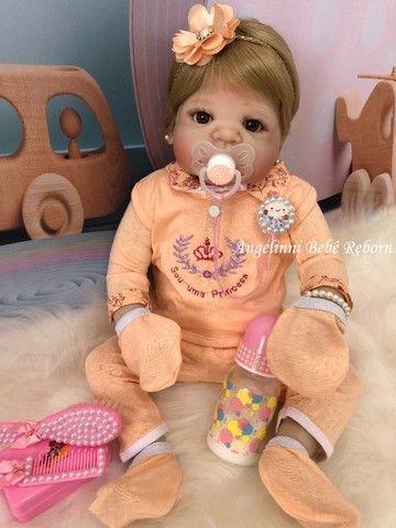 Bebê Reborn Viviane Silicone Pronto Envio! Com Enxoval - Foto 2
