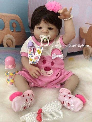 Bebê Reborn Paloma Silicone Pronto Envio! Com Enxoval - Foto 5