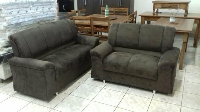 Conj. sofa tecido suede
