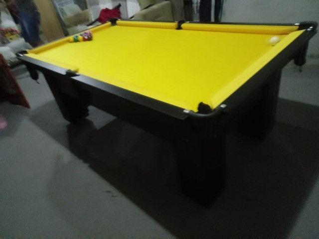 Mesa Charme Carlin Bilhares Cor Preta Tecido Amarelo Mod. HKGY8028 - Foto 3