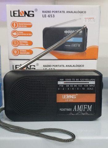 R$59,90 - Rádio Bolso Portátil Am Fm Lelong Le-653 Com Fone De Ouvido - Foto 2